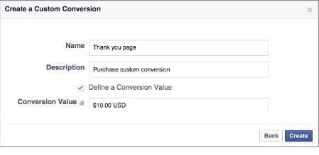 Agregar conversiones y valor