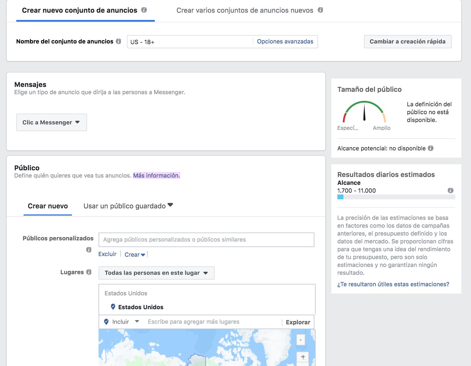 Alcance en Facebook - Crear anuncio