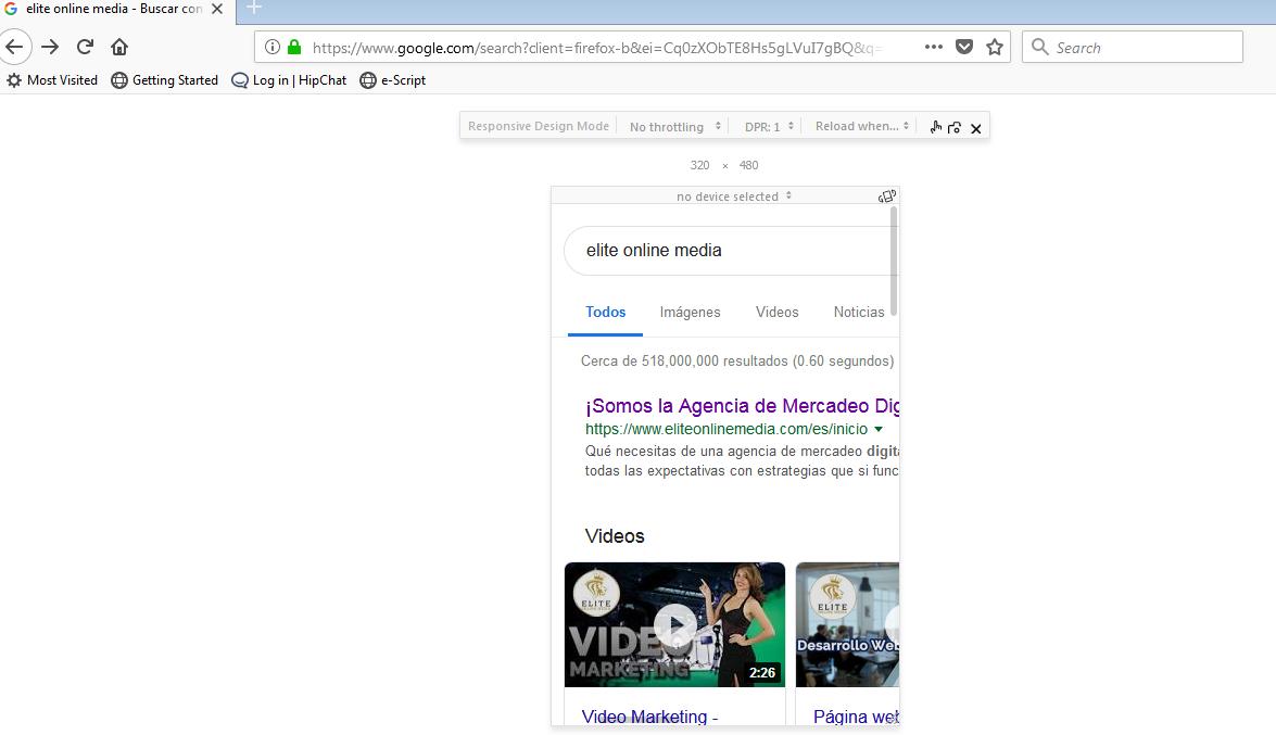 Mozilla ctrl shift M sitio web responsivo