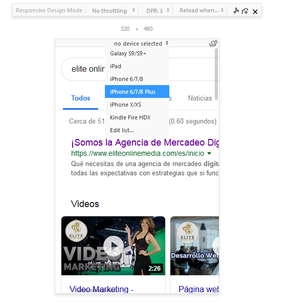 Mozilla sitio web responsivo herramienta escoger dispositivo