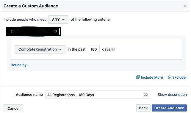 crear audiencia para todos los registros