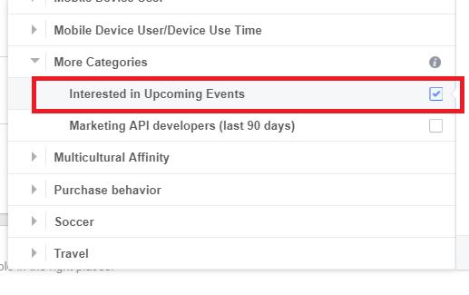 saved audience behavior - eventos