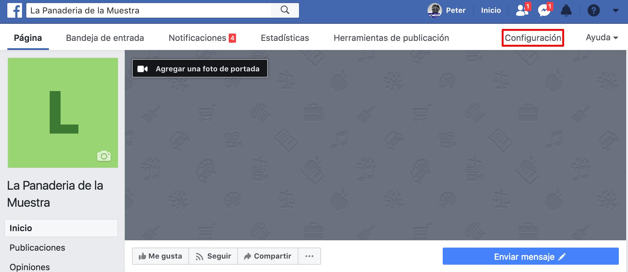 pestana de facebook